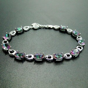 High Quality 100% Real 925 Sterling Silver Bracelet Rainbow Mystic Topaz Bracelets for Gift Woman Engagement Wedding Jewelry