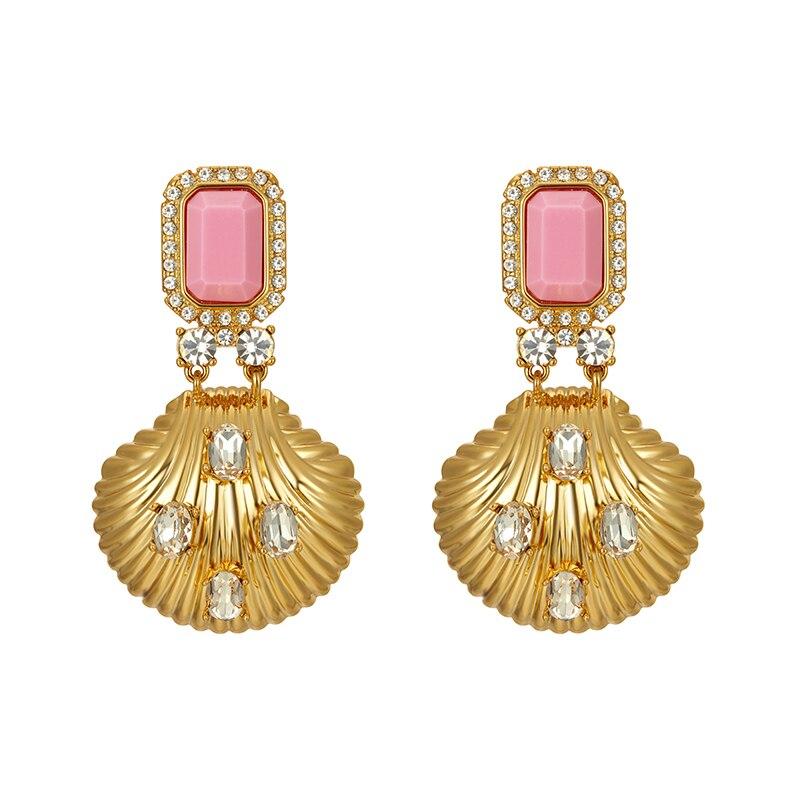 Retro rosa gem ouro perfurado concha orelha unhas brincos temperamento feminino