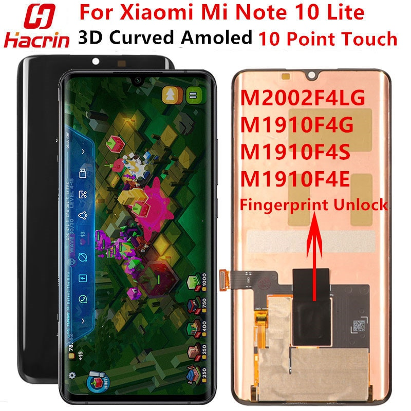 AMOLED Screen For Xiaomi Mi Note 10 Lite Display Screen Original Lcd Display+Touch Screen With Fingerprint For mi note 10 Lite недорого