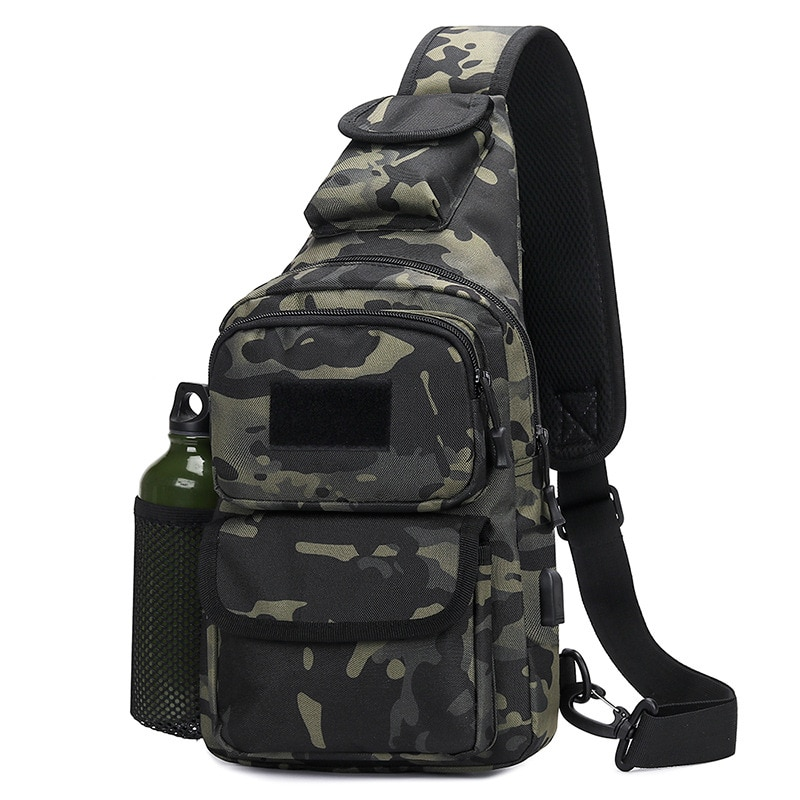 Outdoor Sports Chest Bag, Tactical Shoulder Bag, Leisure Bag, Rechargeable Chest Bag, Pvc Travel Shoulder Bag