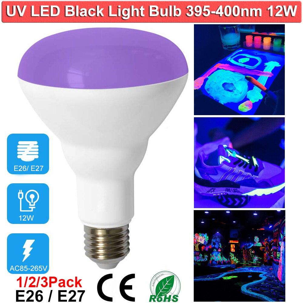 Bombillas de luz UV LED NEGRO 12W nivel UVA bombilla violeta para fiesta de luz negra pintura fluorescente neón ahorro de energía bombillas D30