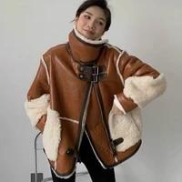 bonjean pu leather patchwork coat for women 2020 lamb fur jackets wide waisted outerwear ladies vintage fur coats bj3473