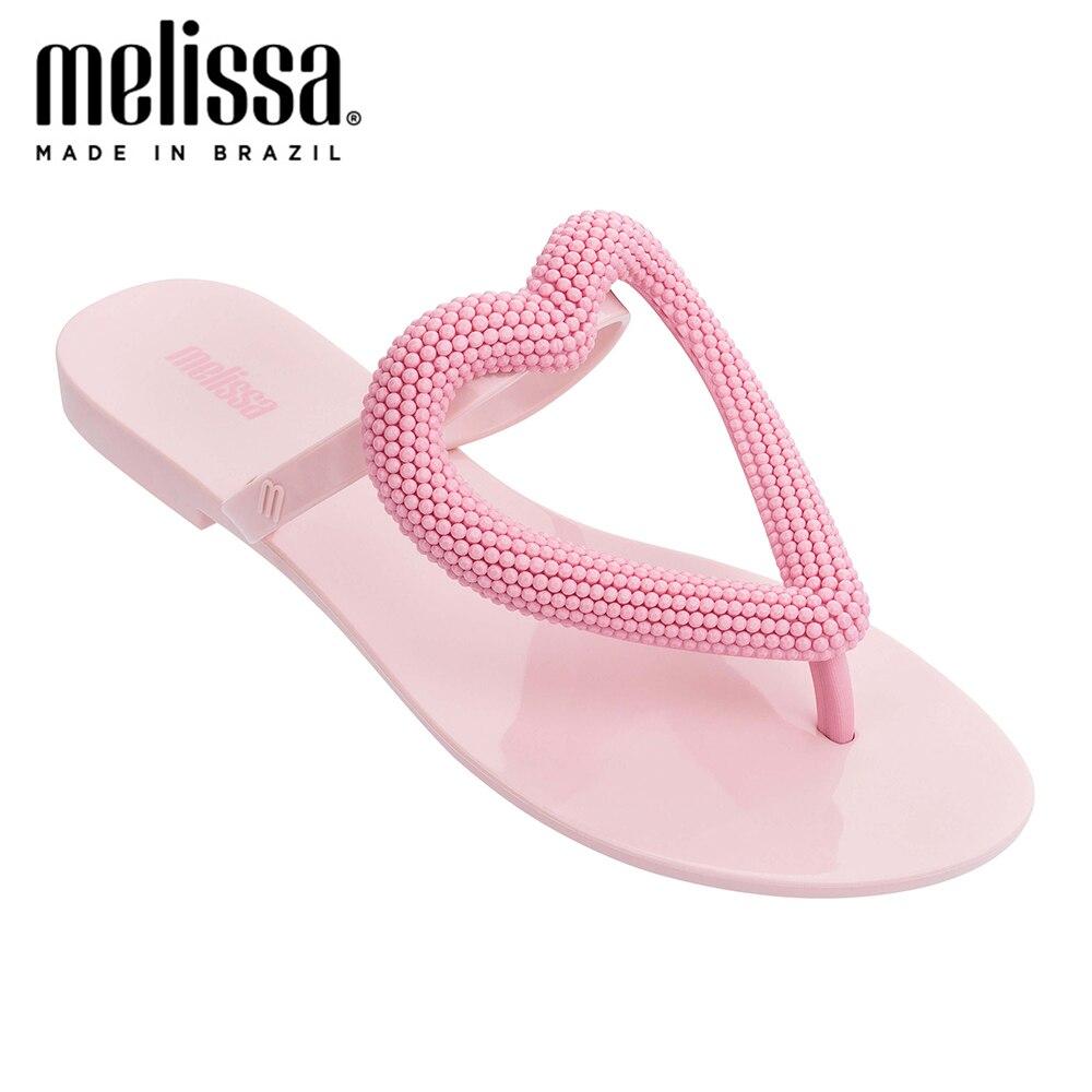 Melissa Big Heart Women Jelly Shoes Flip Flop 2020 New Women Flat Slippers Jelly Sandals Melissa Brazilian Female Jelly Shoes