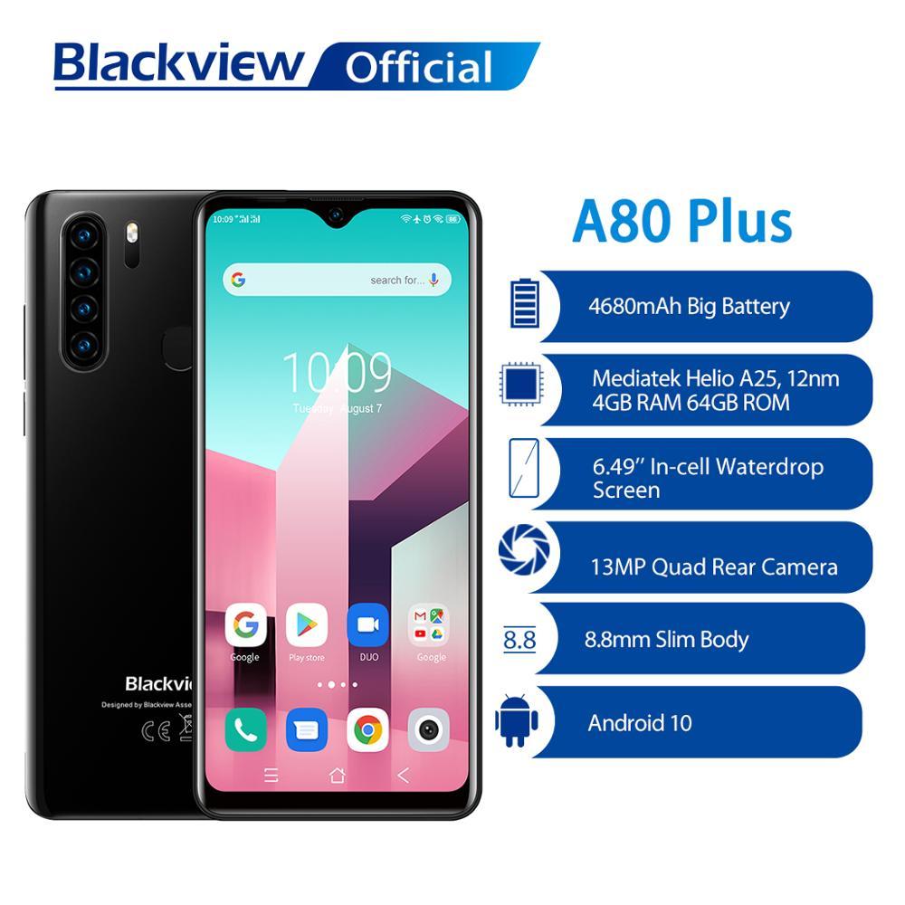 Перейти на Алиэкспресс и купить Blackview A80 Plus смартфон с восьмиядерным процессором 13MP Quad Камера 4 Гб Оперативная память + 64 Гб Встроенная память 4680 мА/ч, Батарея Android 10 NFC 4G мобил...