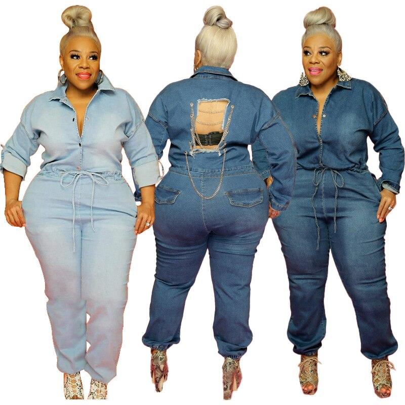 Somoshein 2xl-5xl حجم كبير حللا النساء الموضة الشارع الشهير حفرة سلسلة بذلة الدينيم خريف 2021 رومبير بالجملة دروبشيبينغ