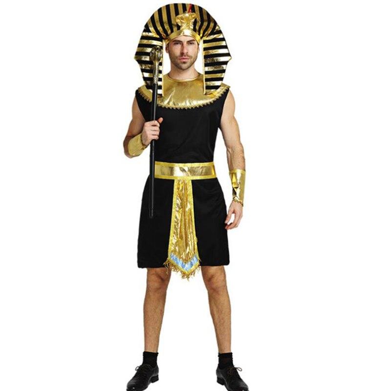 Disfraz del rey Tutankamón egipcio de Glod para hombres adultos, disfraz del rey Tutankamón para hombre, disfraz tradicional egipcio para fiesta de Halloween