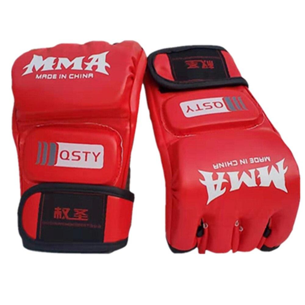 Fdbro luvas de boxe mma muay thai luvas de treinamento mma boxer luta equipamento de boxe metade luvas couro do plutônio preto/vermelho