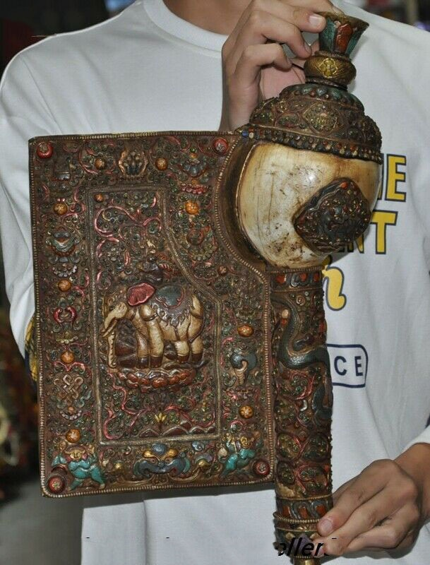 بوق تنين برونز تبتي 17 بوصة ، زينة زفاف قديمة ، مرصعة ، صدفة ، فيل بوذا ، بوق صدفة