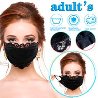 Adult Ladies Black Flower Embroidery Lace Cotton Mask Adjustable Thin Breathable Mask Facial Masque Cover Washable Mascarillas