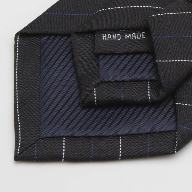 2020 Brand New Fashion High Quality Men 7CM Blue White Striped Black Necktie Formal Suit Party Neck Tie for Men with Gift Box