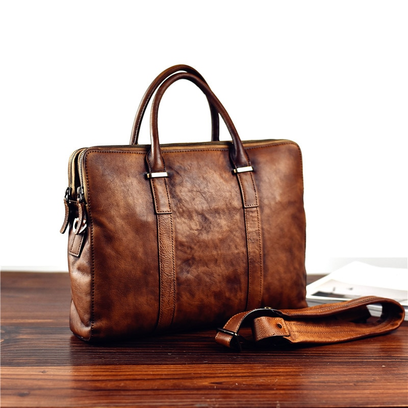 Retro fashion luxury natural real leather men's large-capacity briefcase casual daily work computer handbag lady messenger bag