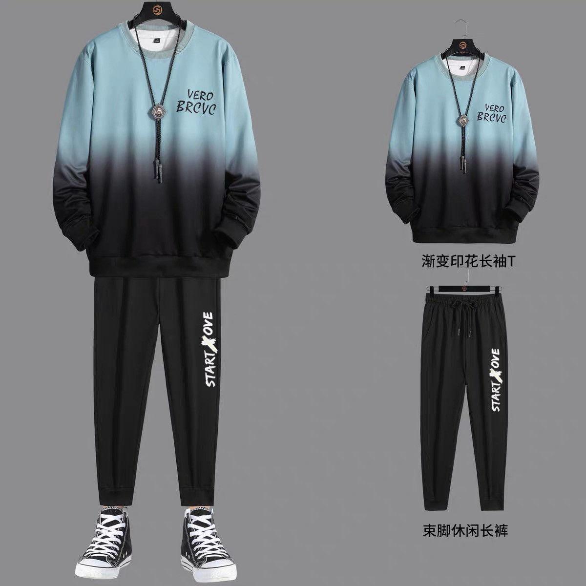 2021 Large MEN S Sweater Spring Summer Tide Brand Sports Student Coat Gradient Top