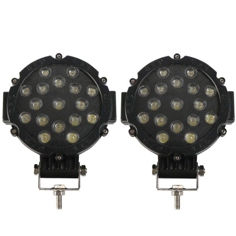 2Pcs 7 Inch LED Offroad Pod Lights Bar 51W Spot Bumper Driving Headlight Fog Light for Off Road, Truck, ATV, SUV, Jeep