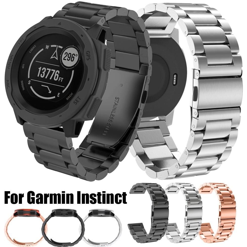 Correa de repuesto para reloj Garmin instinto, de acero inoxidable, accesorios de moda para reloj inteligente
