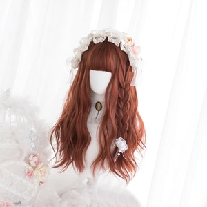 Kawaii Lolita Wig Harajuku Orange Long Curly Hair Body Wave Fringe Bangs Adult Chic Girls Women Cosplay Daily Wear