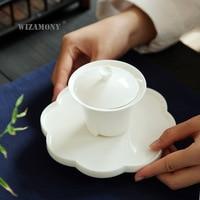 Dehua White Jade Porcelain Celadon Kung Fu Three-talent Bowl-covered Ceramic Pot Bearing Chinese Tea Set Tea Art Training Bowl