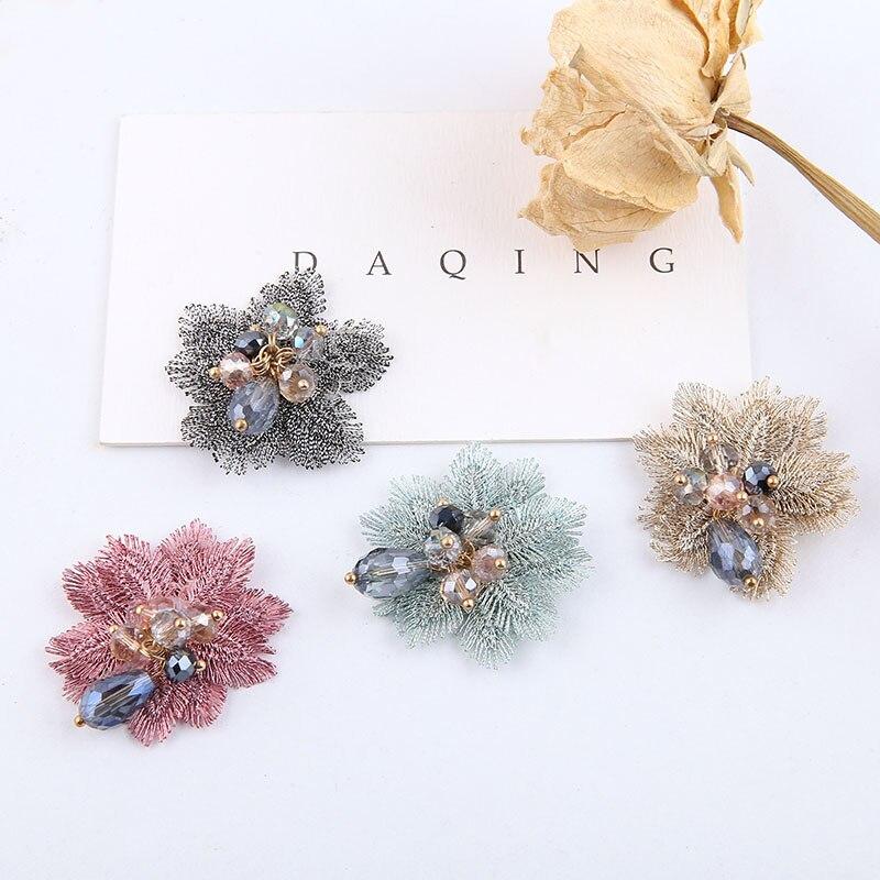 Diy acessórios de jóias artesanais antigo bordado contas de cristal flor remendo broche brincos hairpin cabelo materiais