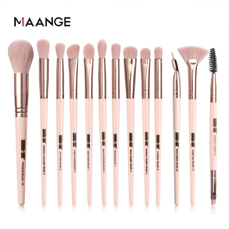 MAANGE 13Pc Makeup Brushes Set Professional Makeup Brushes Set Eyeshadow Blending Eyeliner Eyelash E