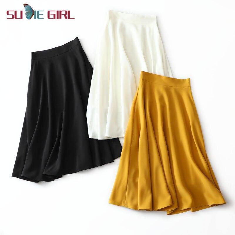 Sudie menina primavera e verão super bela saia grande francês retro cintura alta guarda-chuva saia uma palavra era saia fina