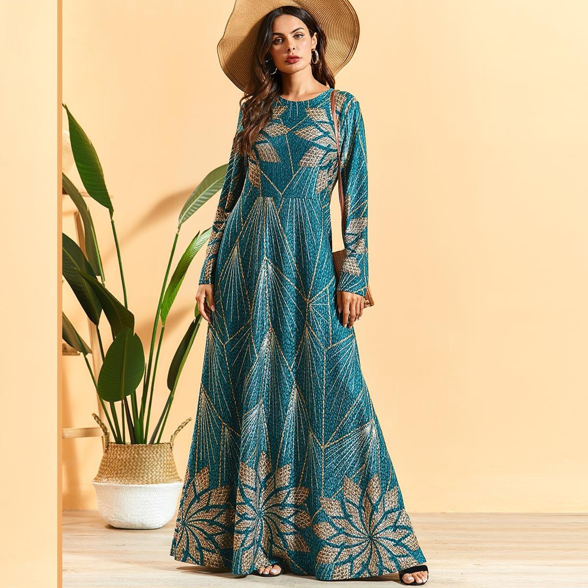Ramadán Turquía musulmán Abaya mujeres vestido hijab imprimir UAE manga larga marroquí Kaftan Djellaba Jilbab Vestidos ropa islámica