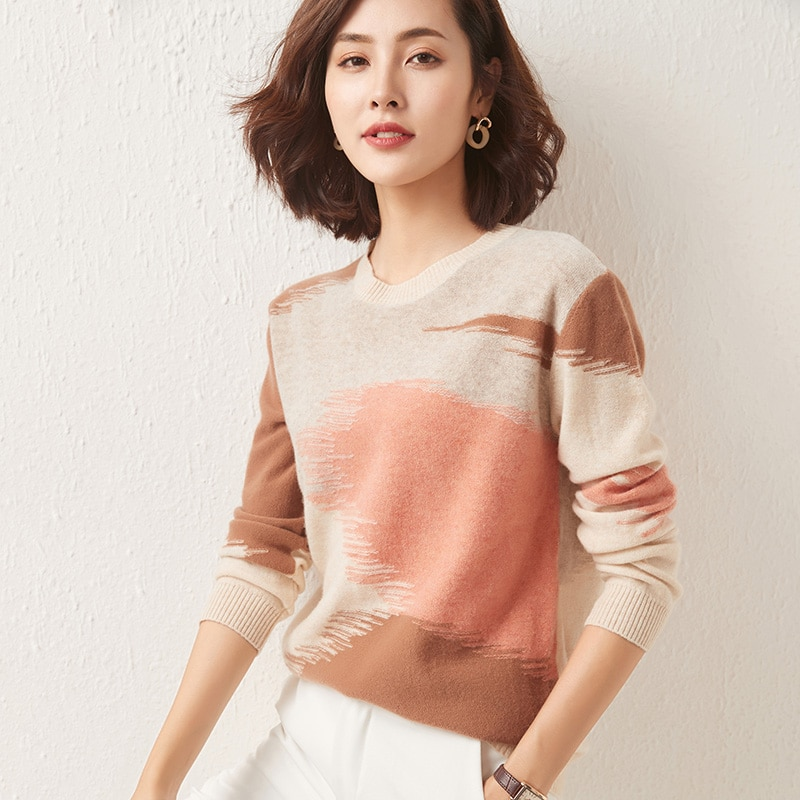 Women's pullover 2021 winter casual stitching round neck wool sweater plus size knitted cashmere sweater ladies top hot enlarge