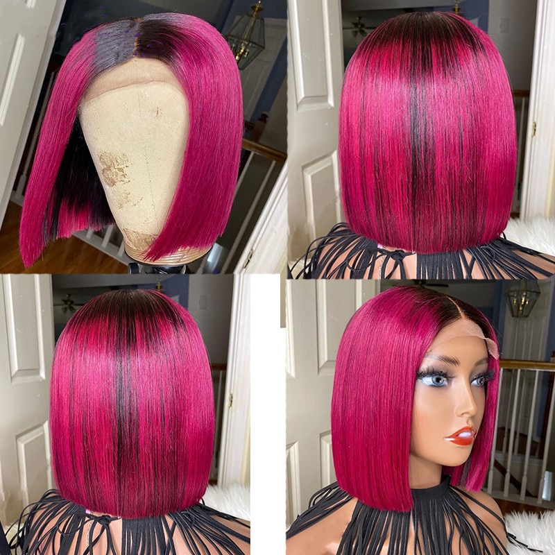 Highlight Pink Rose Red Bob Lace Wig Short Bob Lace Front Human Hair Wigs Straight Wig Pre Plucked 180 Density