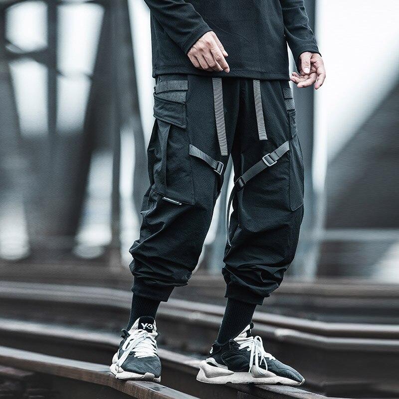 2021 Hip-Hop Cargo Pants Men Streetwear Pocket Ribbon Decoration Jogging Pants Autumn Harajuku Mens Fashion Black Sweatpants