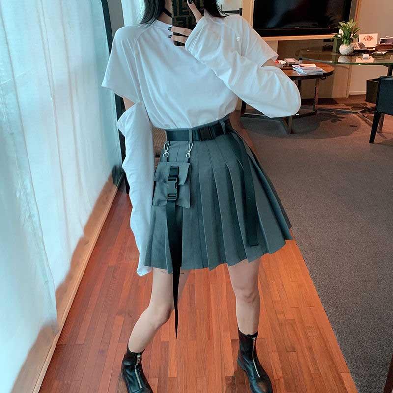 Compre Nicemix Black Set A Line Mujeres Sexy Mini High Cintura Falda Streetwear Mujer Punk Style Side Pocket Moda Design Falda Plisada A 20 29 Del Edwiin04 Es Dhgate Com