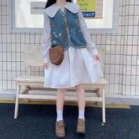 autumn new girls dress 2 piece set all match vintage vest japanese doll collar lace white loose long sleeve midi dresses women