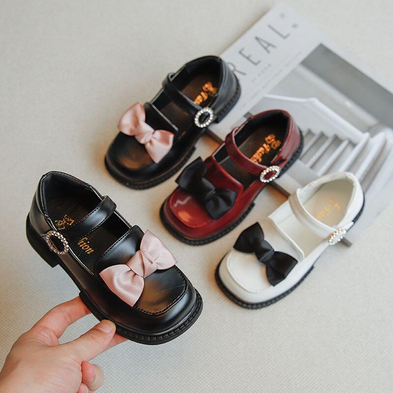 Модная детская обувь, повседневная детская кожаная обувь, дышащая обувь для девочек, обувь принцессы, однотонная кожаная обувь для девочек