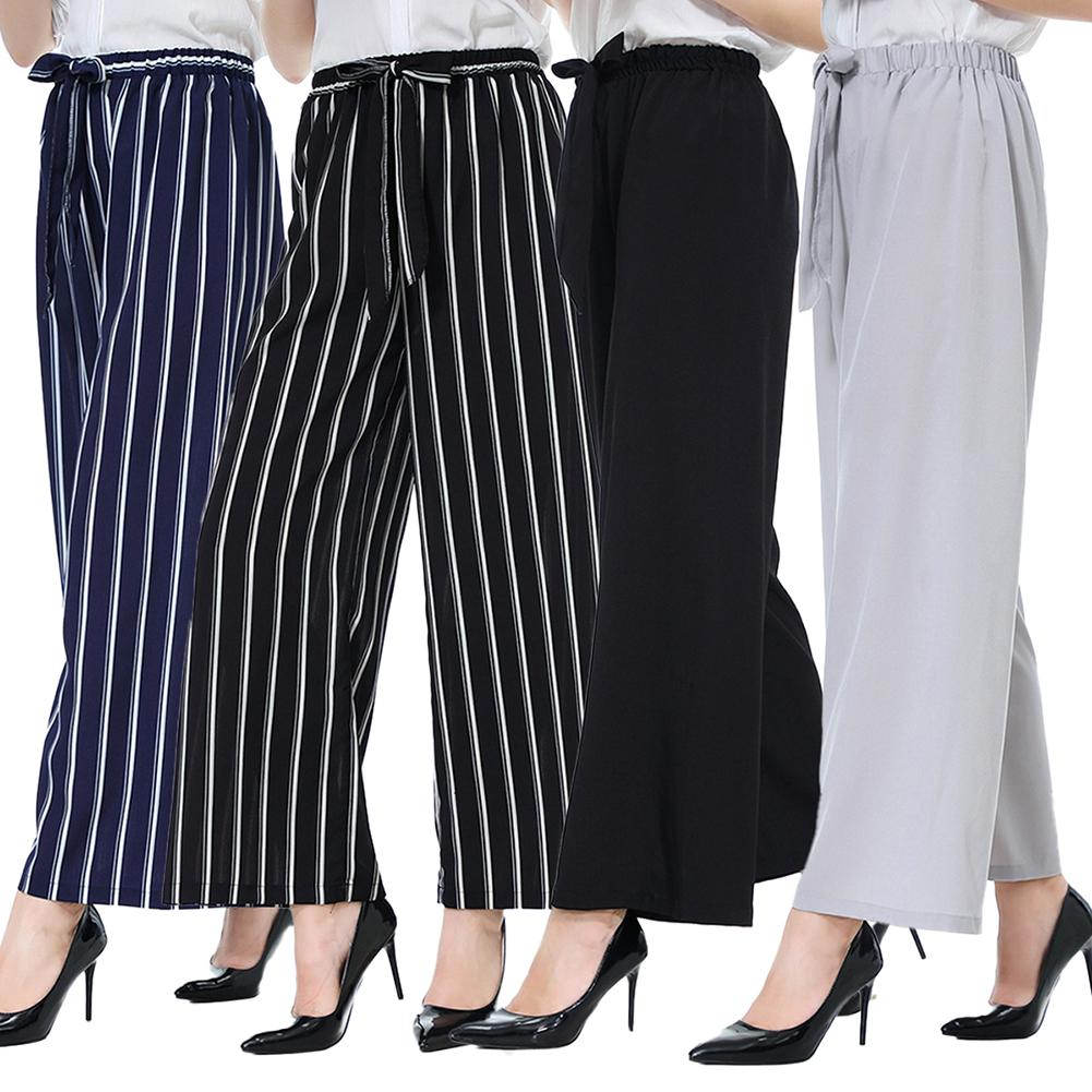 Casual Women Solid Color/Striped Drawstring Wide Leg Trousers Loose Long Pants