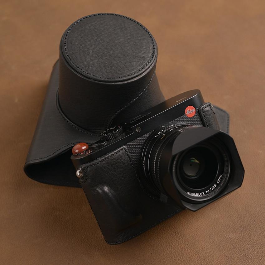 Aydgcam marca artesanal de couro genuíno caso da câmera saco pele cheia para leica q typ 116 leica q2 aberto design da bateria