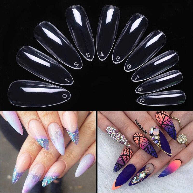600 piezas uñas falsas puntas de uñas transparente ataúd cubierta completa acrílico uñas postizas 10 tamaños para puntas de uñas de extensión herramientas de uñas