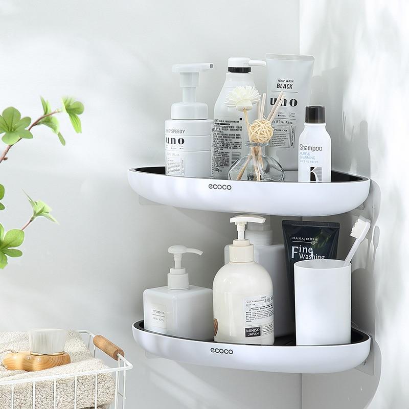 Wall Mounted Bathroom Organizer Shelf Triangular Corner Shelf Shampoo Cosmetic Storage Rack Kitchen Shelf Bathroom Accessories