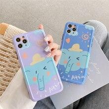 Bonita funda de teléfono de elefante de dibujos animados púrpura azul para iPhone 11 Pro Max X XS Max XR X 7 8 Plus SE 2020 funda trasera de silicona suave Panda