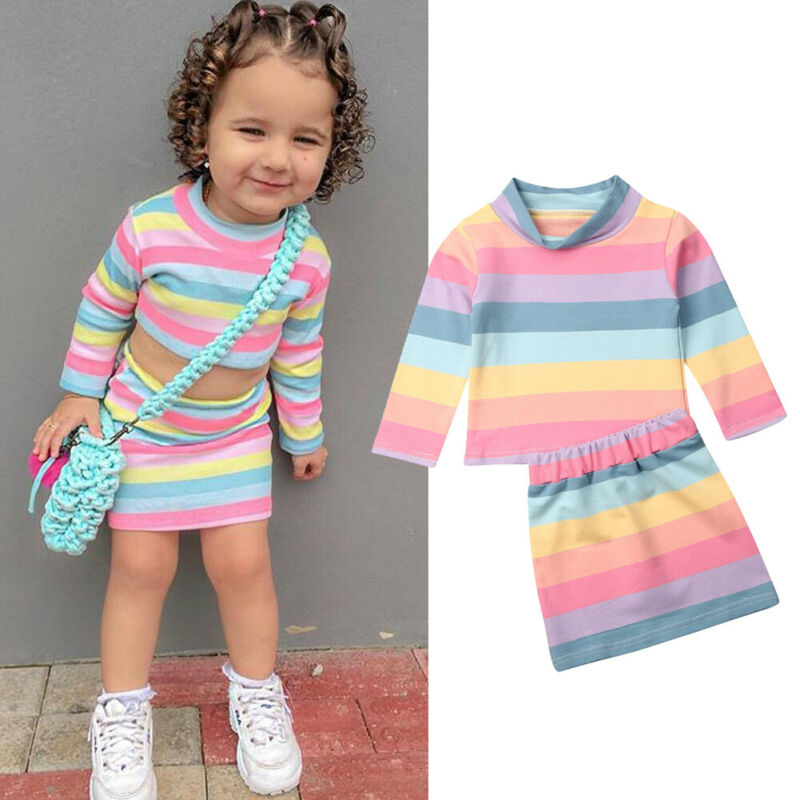 Baby Girl Clothes Set Toddler Kid Baby Girl Rainbow Striped Long Sleeve Top T-Shirt Skirt Outfit Hot Autumn Clothing