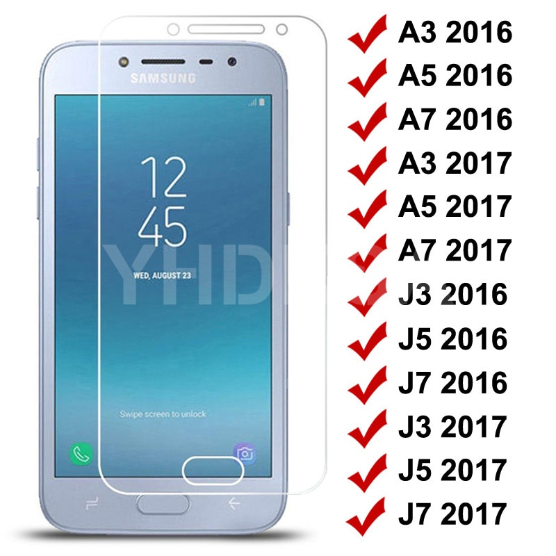 9H Tempered Glass on For Samsung Galaxy S7 A3 A5 A7 J3 J5 J7 2016 2017 J2 J4 J7 Core J5 Prime Screen