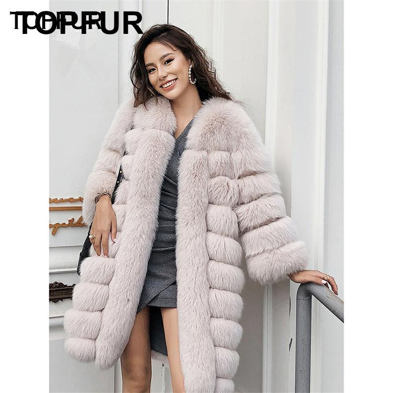 معطف جلد طبيعي للسيدات من topالفراء من أعلى جودة فاخر للشتاء جاكت سميك من فرو الثعلب الطبيعي ملابس خارجية أساسية من فرو الثعلب الحقيقي 2020