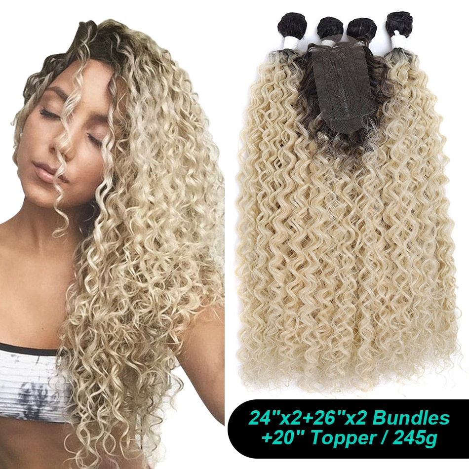 AliExpress - Synthetic Hair Curly Afro Water Wave Hair Bundles Extensions With Closure African 24″ 26″ With 20″ Topper 5Pieces/lot For Women