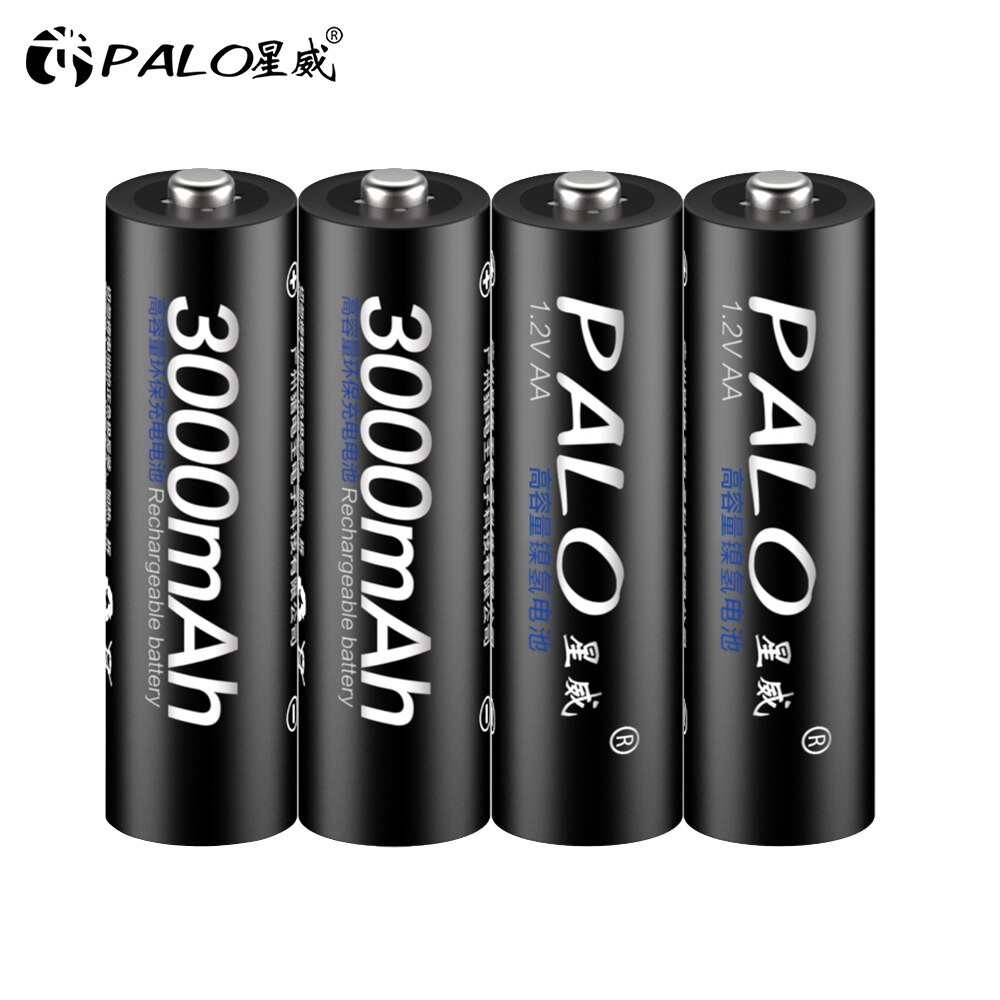 4Pcs AA Battery Rechargeable 1.2V 3000mAh Ni-MH Pre-charged 2A Bateria for Camera Flashlight