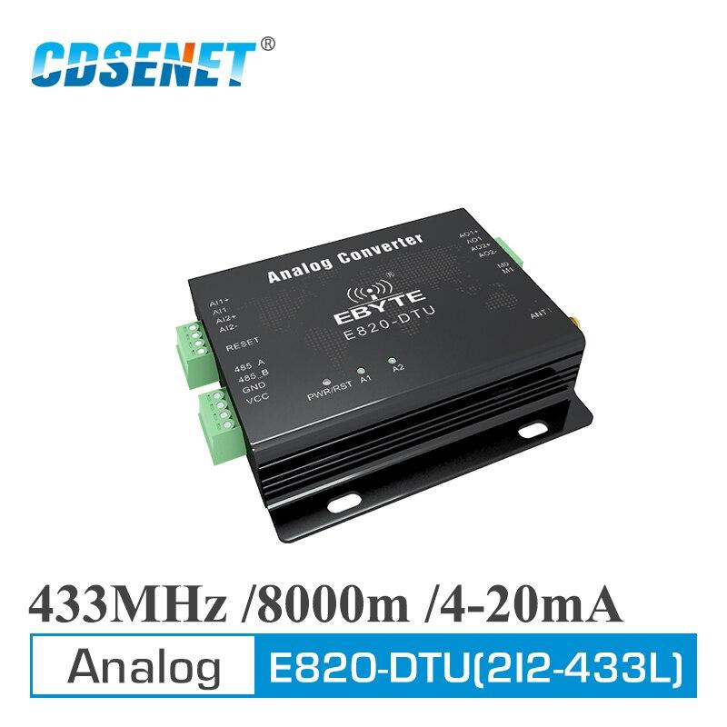 E820-DTU(2I2-433L) Analog Acquisition Module Modbus RTU 433MHz 1W RS485 2 Channel Wireless Control Collection Converter