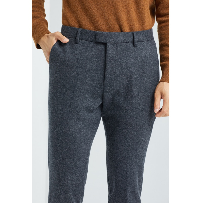 Men's wool casual pants are thickened to keep warm and slim in winter