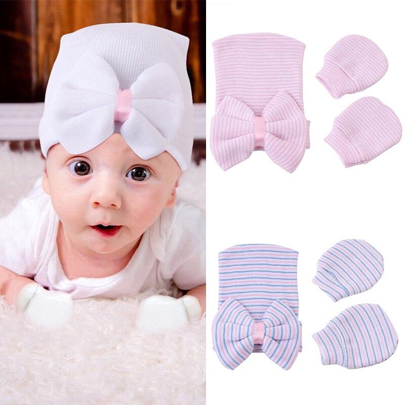 3 unids/set recién nacido sombrero con guantes de algodón suave bebé del Hospital Beanie grandes arcos de rayas de bebé chica sombrero bebé accesorios