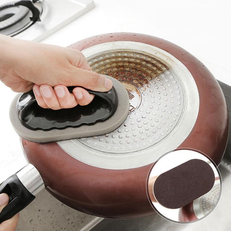 ZhangJi fuerte cepillo de carborundo limpieza descontaminación eliminación de óxido olla cuchillo esponja limpiadora mágica esponja de esmeril herramienta de cocina