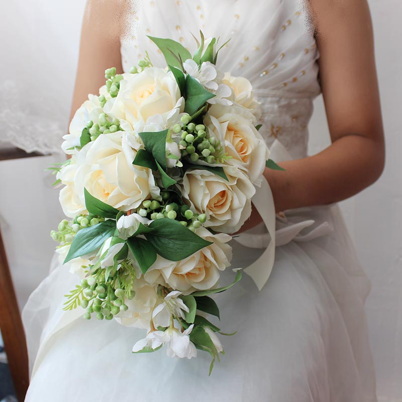 Cascading Bouquet Champagne Roses Free Shipping Bridesmaid Bridal Accessories Flower ramo novia