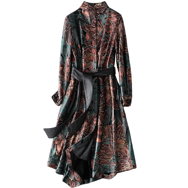 Vintage Printed Sheepskin Female Long Jackets Real Fur Spring Chic Slim Coat Outwear High Quality Leather Jacket with Sashes