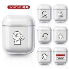 Coque pour AirPods 2 1 housse Coque sans fil Bluetooth casque Transparent PC couverture rigide sur Air Pods Apple Funda Capa