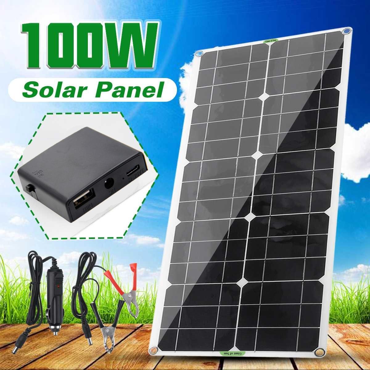 100 واط 2A مرنة لوحة طاقة شمسية أحادية البلورية وحدة للهاتف المحمول مصابيح خارجية شاحن بطارية لوحة طاقة شمسية شحن