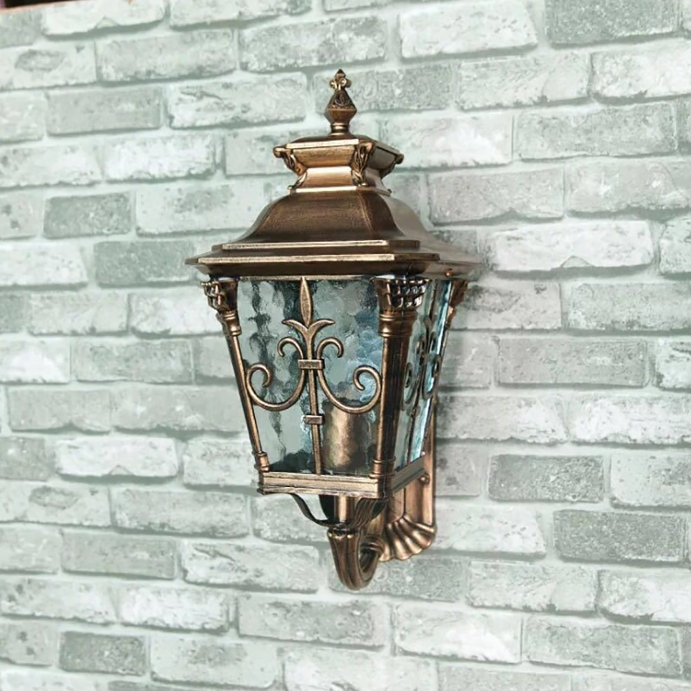 Lámpara LED de pared de jardín, iluminación Exterior, lámparas de pared, Exterior, Patio de bronce, apliques exteriores E27, lámpara impermeable de calle