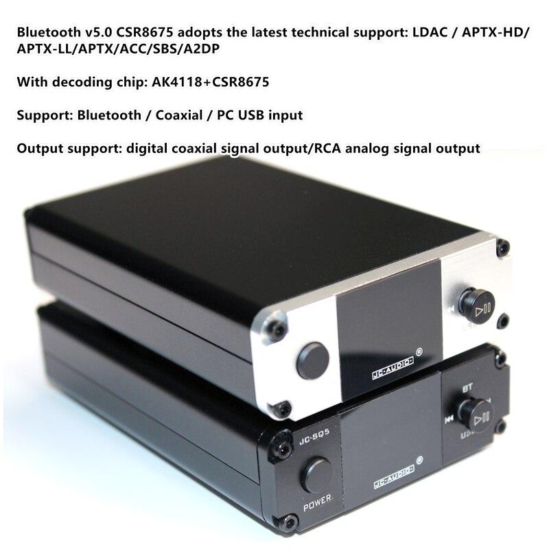 Bluetooth 5,0 CSR8675 CSR8675 + ES9038 LDAC APTX HD PCM 24bit Audio decodificación recibido convertidor de salida de señal digital coaxial